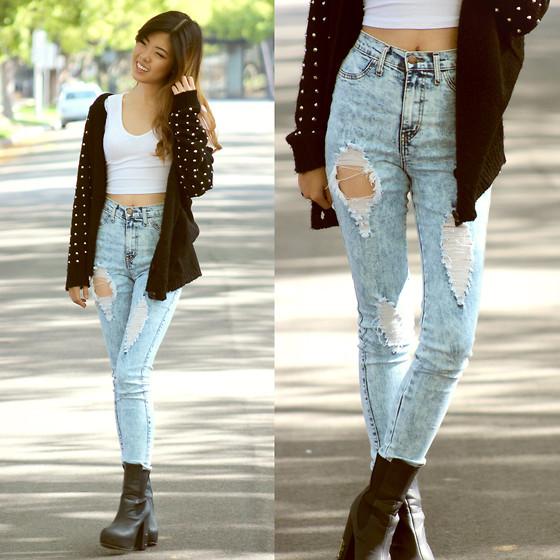 Daily Look High Waist Acid Wash Jeans, Lulus Spiked Cardigan - Easy Going - Eunice S   LOOKBOOK