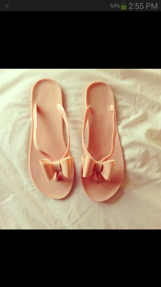 shoes pink bow cute flip-flops summer pretty swag beach shoes
