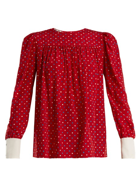 Miu Miu blouse print silk red top