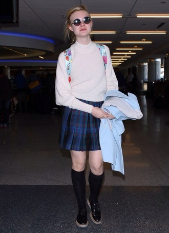 turtleneck nude elle fanning pinterest back to school skirt plaid skater clueless inspired soft grunge preppy school girl