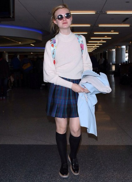 elle fanning pinterest skirt flannel skater clueless inspired soft grunge preppy school girl turtleneck nude plain back to school