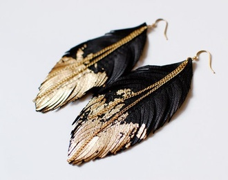 earrings jewels gold feather earrings black feather earrings gold and black chain earrings