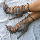 shoes,grey,heels,lace up,lace up heels,strappy,strappy heels