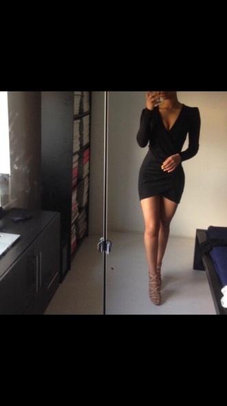 dress black dress black cute hot asymmetrical