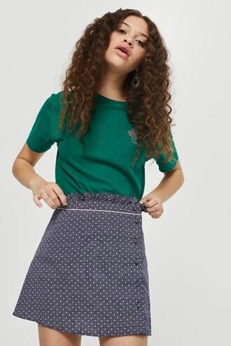 skirt mini skirt mini ruffle navy blue