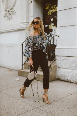 the fashion guitar blogger top pants shoes bag sunglasses jewels flowers chloe celine one shoulder streetwear