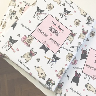 home accessory yeah bunny bedding dog print frenchie pugs cute love kiss white bedding kawaii