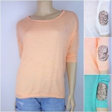 E e dolman 3 4 sleeve knit top sequins elbow patch lightweight comfy loose