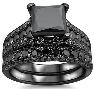 jewels ring engagement ring knuckle ring black dress black silver ring