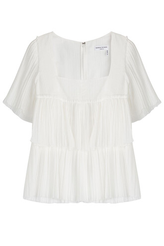 blouse pleated cotton white top
