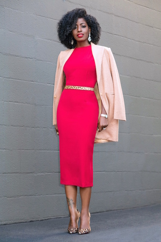 blogger coat dress belt shoes pink dress midi dress blazer pink jacket pumps