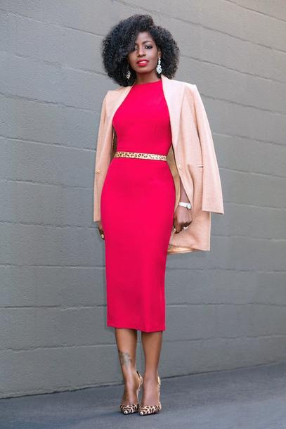 blogger coat dress belt shoes pink dress midi dress blazer pink jacket pumps