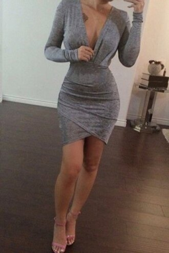 dress grey sexy casual long sleeves fashionable women's long sleeve pure color plunging neck bodycon dress hot bodycon trendy summer fall outfits