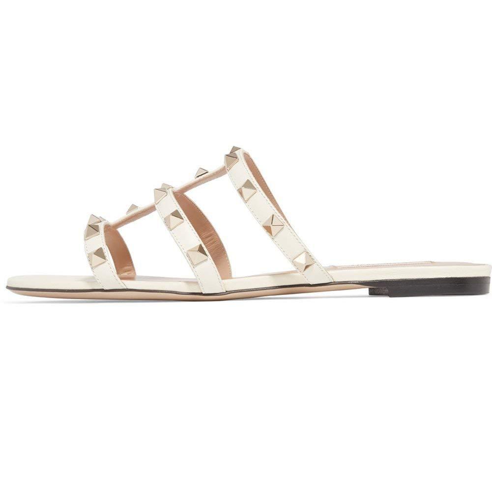 2ae5b3ac297ab Amazon.com | Chris-T Womens Mules Flats Rivets Slides Rockstud Strappy  Studded Gladiator Sandals Backless Dress Slippers 5-14 US | Slides