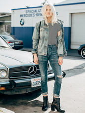 fire on the head,blogger,t-shirt,shoes,streetstyle,striped shirt,ripped jeans,denim jacket,denim