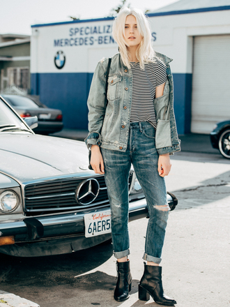 fire on the head blogger t-shirt shoes streetstyle striped shirt ripped jeans denim jacket denim