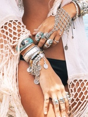 jewels,boho,silver,bracelets,ring,jacket