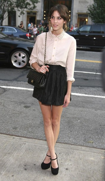 alexa chung white shoes black shoes