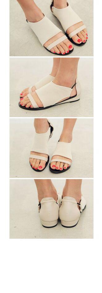shoes white shoes minimalist shoes cut out shoes flats leather shoes flat sandals