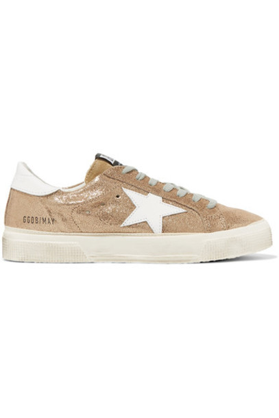 GOLDEN GOOSE DELUXE BRAND metallic sneakers leather suede gold shoes
