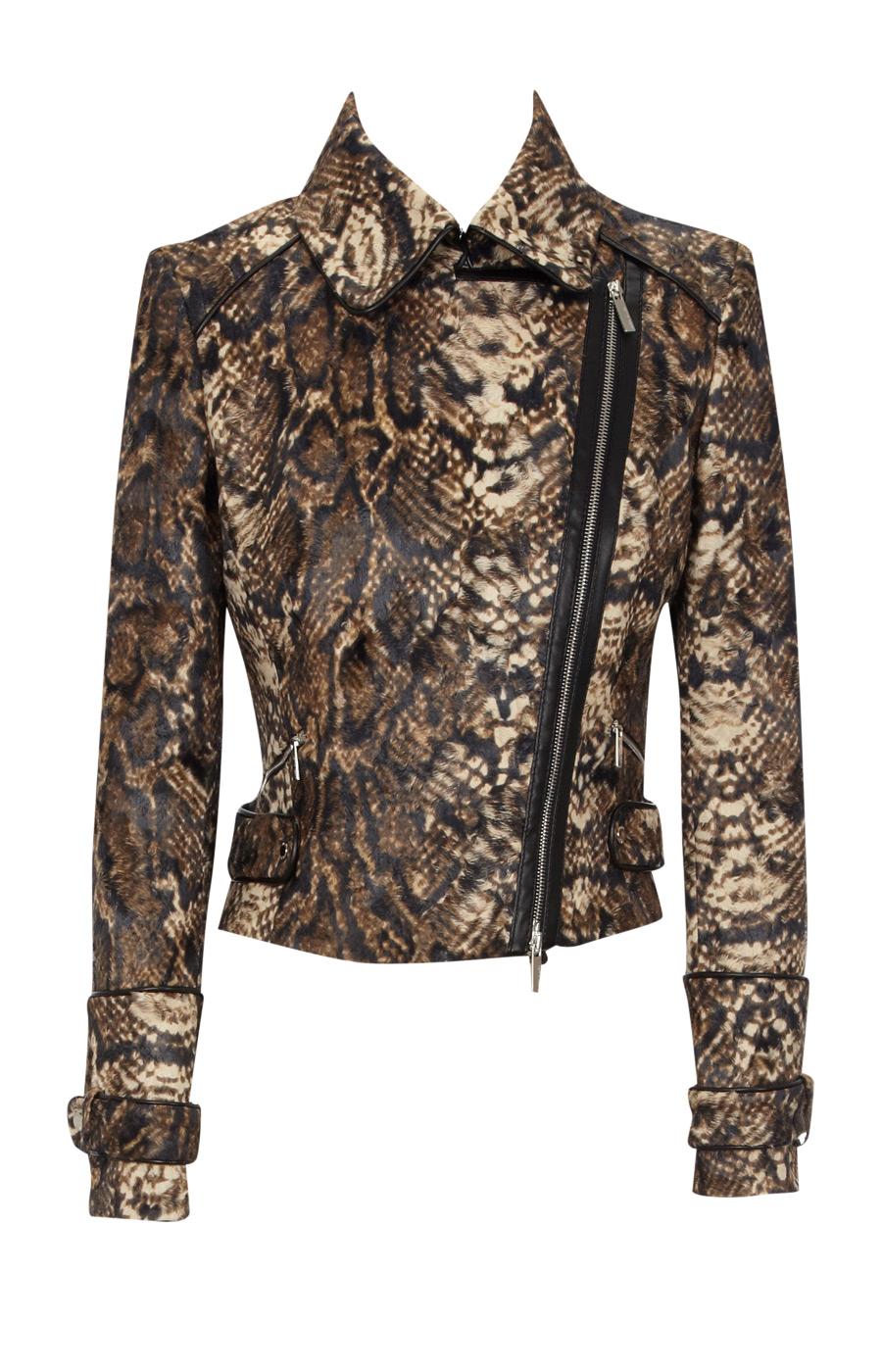 Snake print biker jacket at karenmillen.com