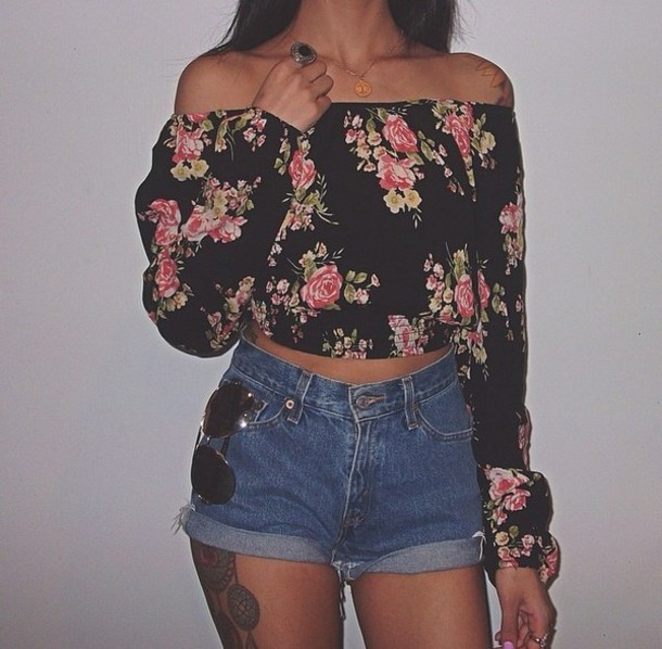 top black long sleeve off-the-shoulder