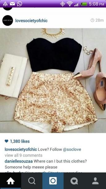 blouse black crop top shorts shoes