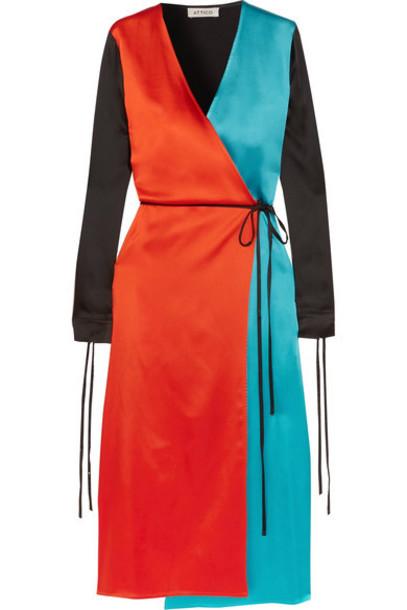 dress wrap dress satin red