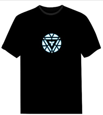 t-shirt black t-shirt iron man mens t-shirt led t-shirt clubwear music accessory dancewear boy