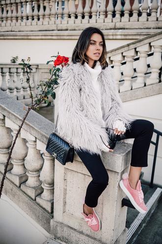 viva luxury blogger fuzzy coat winter coat pastel sneakers grey coat fluffy grey fur jacket