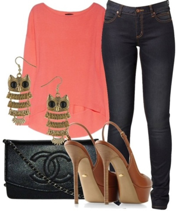 bag chanel owl earrings jeans coral blouse shoes jewels jacket shirt