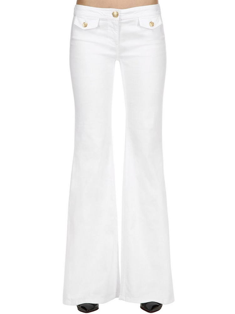 BALMAIN Flared Cotton Denim Pants in white