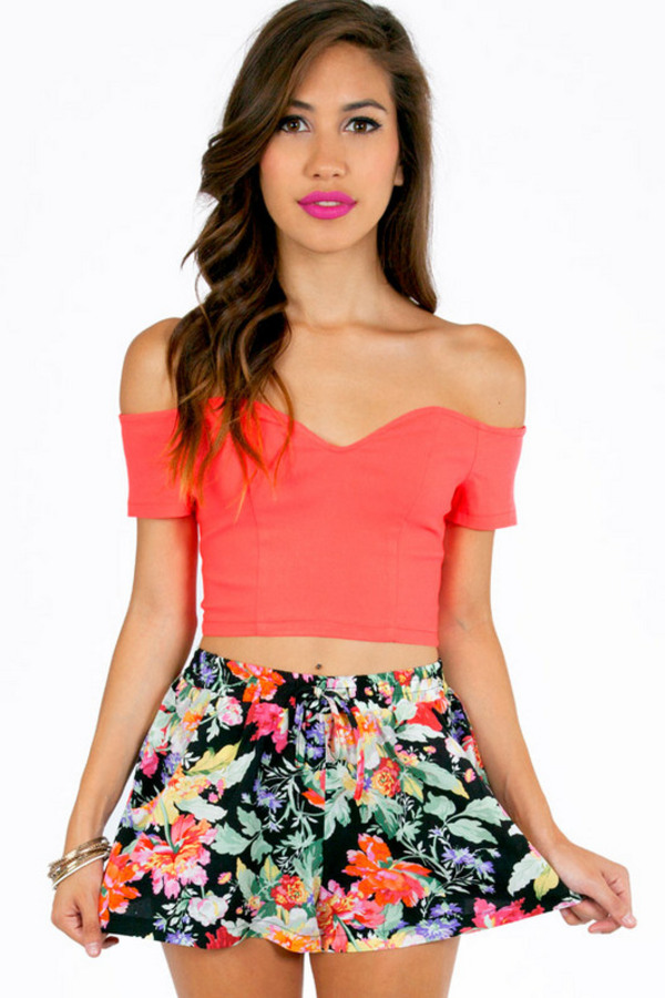 Sweetie Off Shoulder Crop Top - TOBI