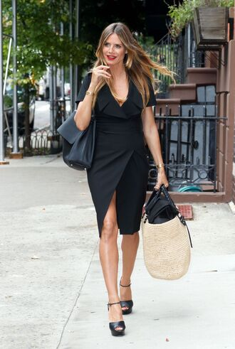 shoes sandals heidi klum black dress black wrap dress