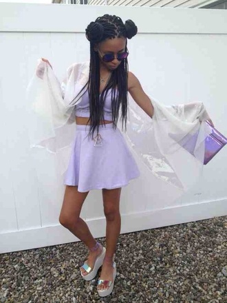 blouse lilac skirt shirt summer outfits purple seapunk crop tops shoes sunglasses top style high waisted skirt bustier cute dress fashion black girls killin it african american cute cardigan jumpsuit jewels socks