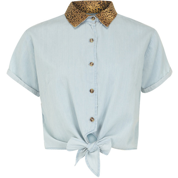 Dorothy Perkins Denim and leopard cropped shirt - Polyvore