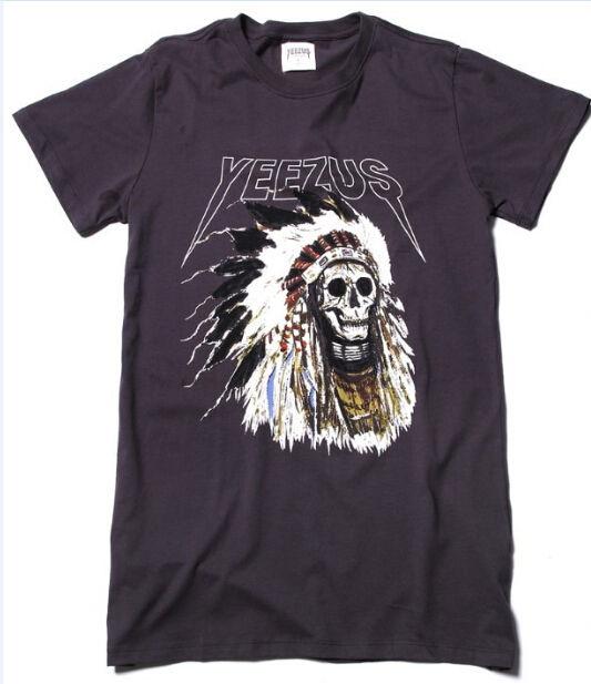 Kanye west yeezus tour merch indian headdress skull dark grey long t
