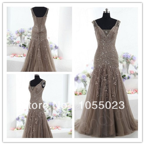 Wholesale Classy brown embroidery dresses prom long dresses new fashion 2013 floor length gowns wedding-in Prom Dresses from Apparel & Accessories on Aliexpress.com
