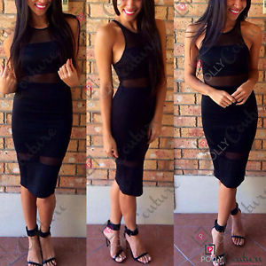 Womens Black Mesh Bodycon Pencil Knee Length Long Boutique Party Going Out Dress
