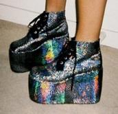 glitter,rainbow,platform shoes,heels,metallic,lace,shoes