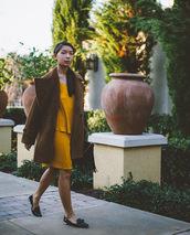 honey n silk,blogger,dress,mustard,winter coat,mustard dress