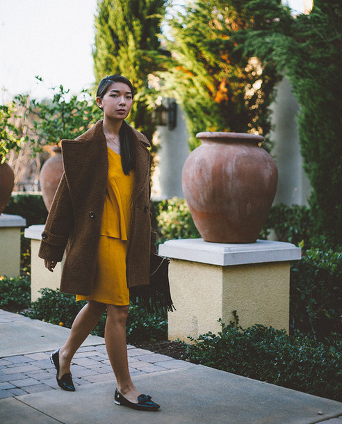 honey n silk blogger dress mustard winter coat mustard dress