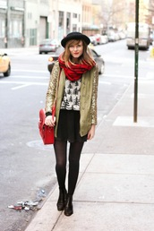 steffy's pros and cons,blogger,jacket,hat,gold sequins,flannel scarf,christmas sweater,black skirt,sweater,skirt,shoes