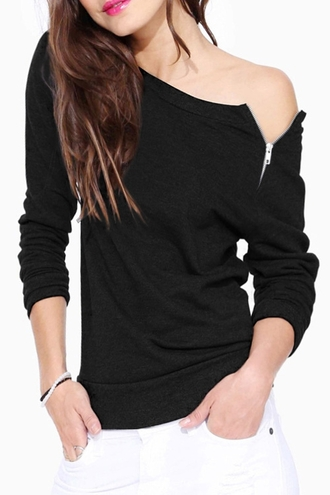 sweater zip black casual fashion style fall outfits winter outfits long sleeves off the shoulder top