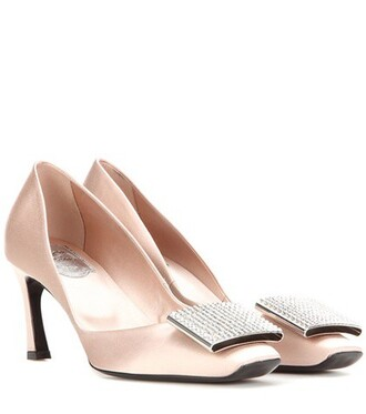 embellished pumps satin beige shoes