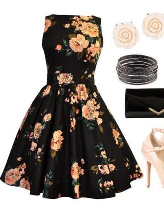dress black floral dress