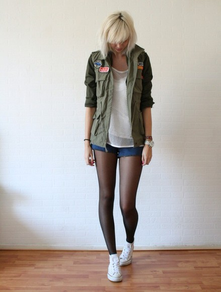 tights jacket back to school khaki jacket patches converse