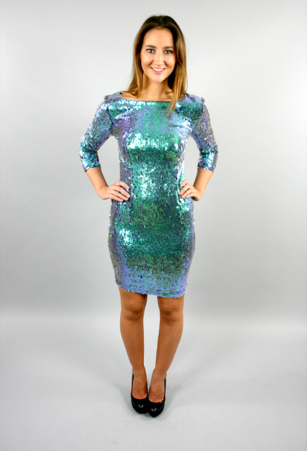Green Iridescent Sequin Azalea Mermaid Dress
