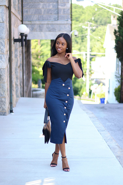 skirt pencil skirt midi skirt sandals blogger blogger style button front skirt off the shoulder top shoulder bag
