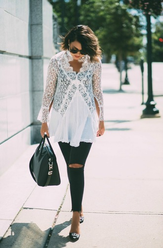 life & messy hair blogger jeans bag shoes sunglasses white blouse blouse handbag black jeans fall outfits